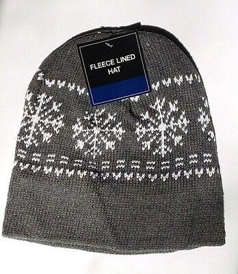 GRAY Mens Womens KNIT FLEECE Lined Beanie Hat Cap Warm Winter SnowFlake Snowflake Knit Hat