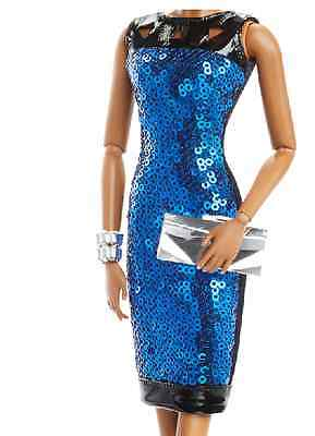 The Look Barbie Night Out blue Dress with black leather trim Model Muse