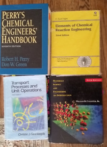 Chemical/process engineering books including Perry's Handbook