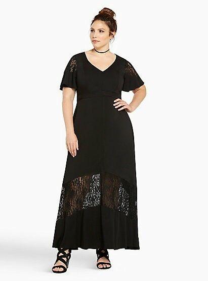 NWT Torrid black short sleeve lace inset maxi dress, size 16