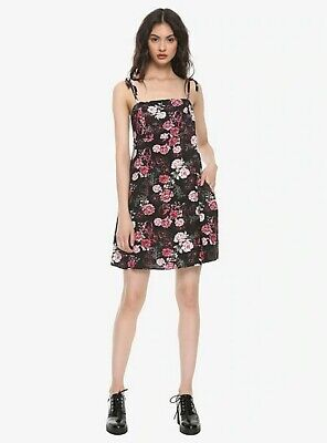 Hot Topic Black Skull and Roses Size Large Dress rrp $29.90 BNWT