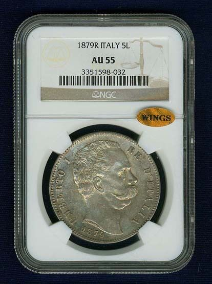 ITALY KINGDOM 1879-R 5 LIRE SILVER COIN, ALMOST UNCIRCULATED, NGC CERTIFIED AU55