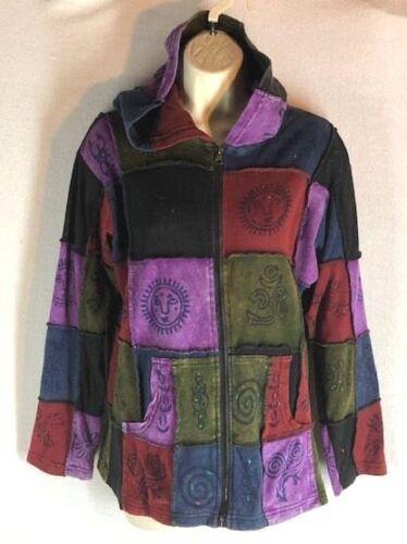 Greater Good Network sz S/M 100% Cotton Hoodie Jacket Zip Front Patchwork