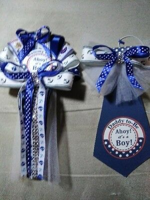 Baby shower It's A Boy Blue  Nautical Theme Mommy corsage &  Daddy Tie To Be  (Boys Baby Shower Themes)