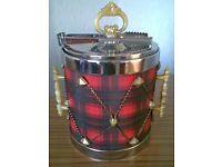 Vintage 1970's Red Tartan Drum Ice Bucket and Tongs