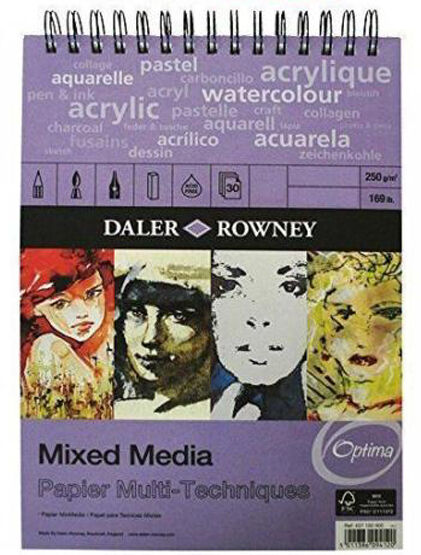 Daler Rowney Optima Mixed Media Painting Pad - Acrylics Watercolours Pastel A4