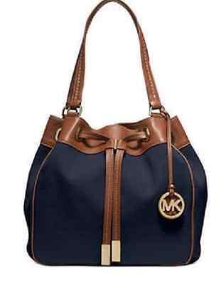 New Michael Kors Navy Blue Marina Large Drawstring Shoulder Bag Tote canvas