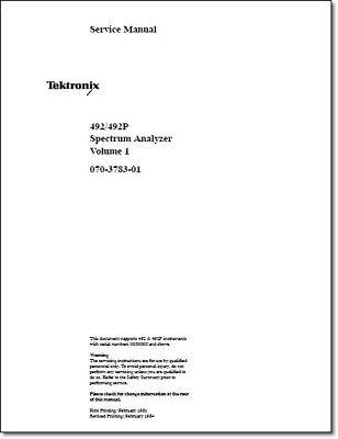 Tektronix 492 492p Service Manual Vol 1 Comb Bound Plastic Protective Covers