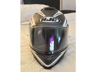 Medium HJC mint condition motorcycle helmet with built-in click down sunvisor