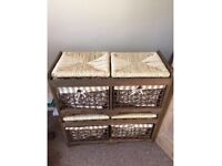 Wicker basket lined storage bins draws - CAN DELIVER