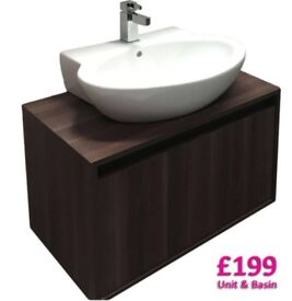 Bathroom vanity unit and counter top basin - brand new