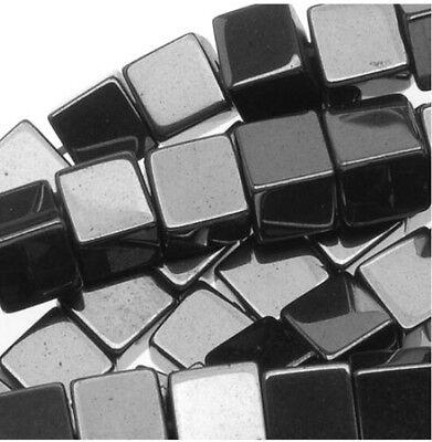 10mm Hematite Square Cube Beads (10) TEN BEADS