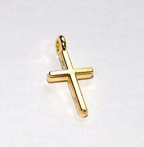 25 GOLD PLATED CROSS CRUCIFIX CHARMS PENDANTS -14x8mm