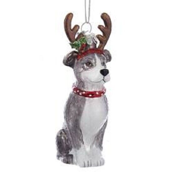 Glass Dog Ornament PITBULL TERRIER w/Antlers Dog Breed Christmas Ornament