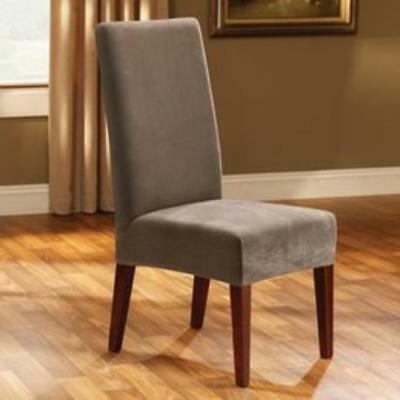 Sure Fit Stretch Pique - Shorty Dining Room Chair Slipcover Mushroom tan