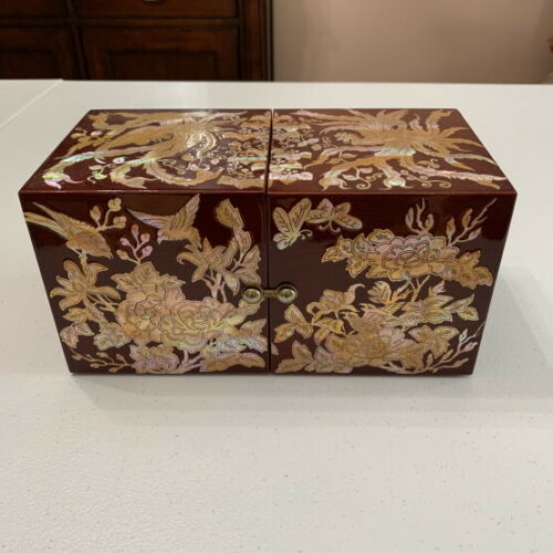 Korean Red Jewelry Box with Mother of Pearl Inlay