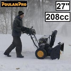 """NEW POULAN PRO 208cc SNOW BLOWER 961920068 143483545 27"""" DUAL PHASE 9.5 TP ELECTRIC START REMOVAL THROWER SNOWBLOWER ..."""
