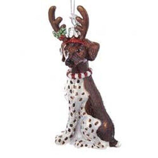 Glass Dog Ornament GERMAN SHORTHAIR w/Antlers Dog Breed Christmas Ornament