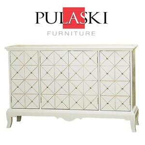 NEW* PULASKI RAMSEY CREDENZA 675023 182039146 59.5 by 18.25 by 39-Inch DRESSER TABLE CABINET IN WHITE
