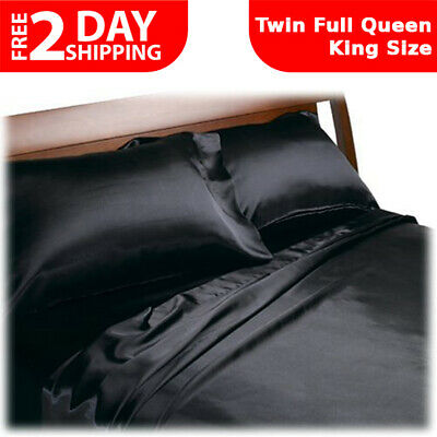 Black Luxury Satin Charmeuse Sheet Set 4 Piece Soft Silk Royal Opulence Bedding