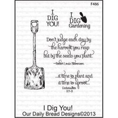 Our Daily Bread   Rubber Stamp  I Dig You  F486 Scrapbooking