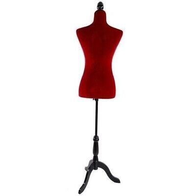 Adjustable Red Female Mannequin Torso Dress Form Display W Black Tripod Stand