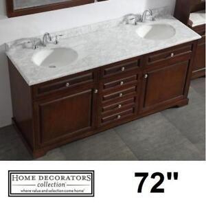 """NEW* HIGHCLERE 72"""" VANITY COMBO 9554300840 143648255 HOME DECORATORS DOUBLE SINK MARBLE BASIN VANITIES BATHROOM CABIN..."""