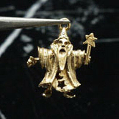 14k gold vintage WIZARD charm arms move MAGIC WAND