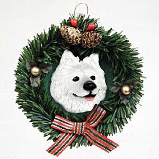 Wreath Xmas Ornament SAMOYED Dog Breed Christmas Ornament RETIRED