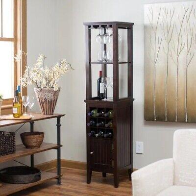 Wine Bar Storage Cabinet Furniture Home Liquor Storage Glass Rack Tower Espresso