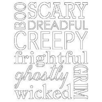 Poppy Stamps Steel Die  SCARY QUOTES HALLOWEEN  #1078 - Halloween Quotes Scary