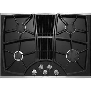 Plaque de cuisson au gaz 30'' KitchenAid, système de ventilation intégré, stainless