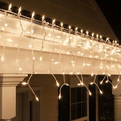 300ct Icicle Christmas / Wedding Lights Clear with White Wire Indoor/Outdoor