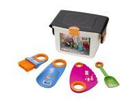 My First Fiskars Children's Garden or Beach Tool Set in Seat Box Case
