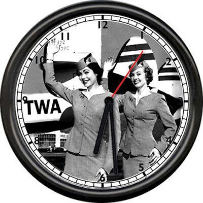 TWA Trans World Airlines Flight Attendant Stewardess Pilot Airplane Wall Clock ()