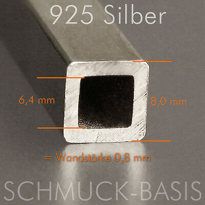 925 Silber Vierkant-Hohlprofil 8 x 8 mm; Länge 2,5 cm