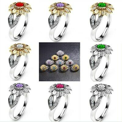 12 Colors Charm Jewelry Ladies' Rhinestone Accessory Sunflower Party Rings US - Rhinestone Rings