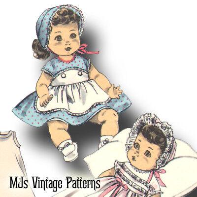 "Vtg Doll Pattern Christening Dress ~ 15"" 16"" 17"" Betsy Wetsy, Tiny Tears, Dy Dee"