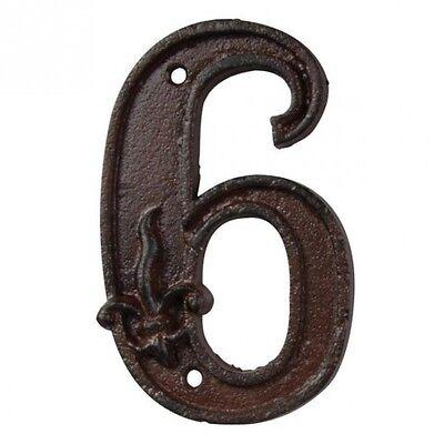 Hausnummer Zahl Nummer 6 Sechs Antikbraun patiniertes Gußeisen Ornament 372893