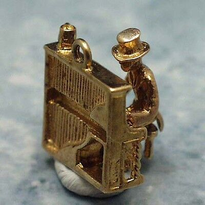 Player Charm 14kt Gold Jewelry - 14k gold vintage PIANO PLAYER charm MOVES