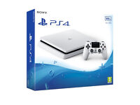 WHITE PLAYSTATION 4 SLIM NEWEST MODEL 500GB NO CONTROLLER BASICALLY BRAND NEW BEEN ON ONCE ALL BOXED