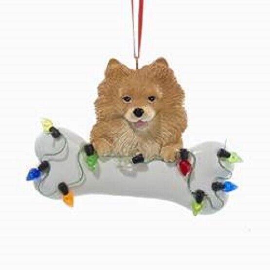 DogBone POMERANIAN w/Dog Bone & Lights Resin Christmas Ornament