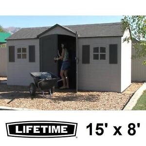 NEW LIFETIME 15' x 8' OUTDOOR SHED - 124275078 - POLYETHYLENE PLASTIC 2 WINDOWS 6 SKYLIGHTS STORAGE UTILITY SHEDS ORG...