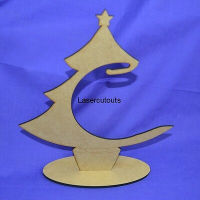 LASERCUT MDF CHRISTMAS TREE BAUBLE HANGER WOODEN STAND DISPLAY 300MM TALL ()