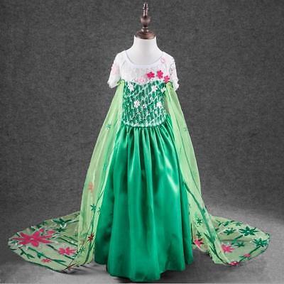Prinzessin Kostüm für Kinder in einem bezaubernden Grünton und Blumen - Eine Prinzessin Kostüm
