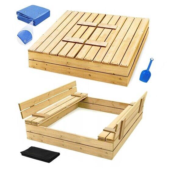 Sandkasten mit Deckel Sandbox 120x120 150x150 Sandkiste mit Sitzbänken Holz