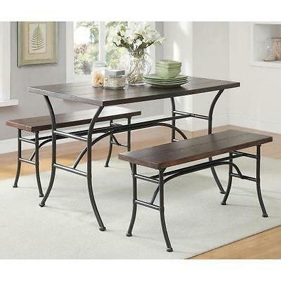 - 3 Piece Rectangular Dining Table Set 2 Benches Rustic Metal Walnut Wood Finish