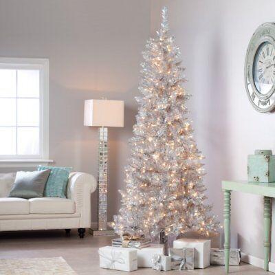 Sterling 9' Pre-lit Slim Silver Tiffany Tinsel Artificial Christmas Tree clear 9' Slim Christmas Tree
