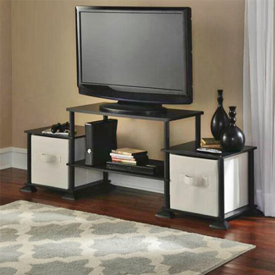 tv stand center black storage cabinet media console wood furniture