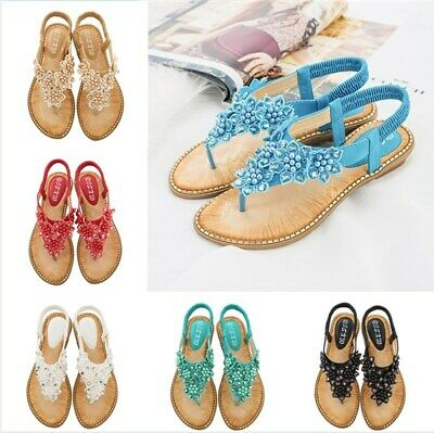 Women Bohemian Summer Rhinestone Beading Faux Leather Clip Toe Casual Sandals US - Sandals Beaded